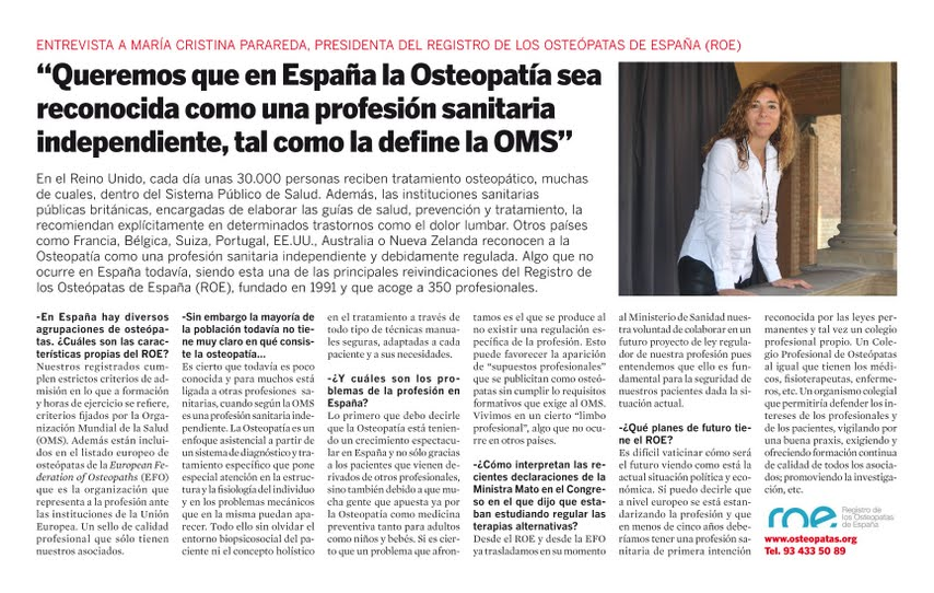 ROE: entrevista a su presidenta, María Cristina Parareda